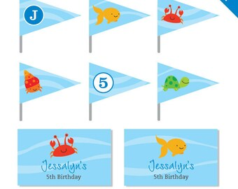 Under the Sea Party - Personalized DIY printable straw flags and napkin rings