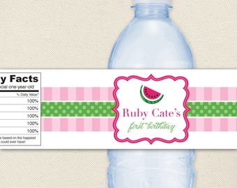 Watermelon Party - 100% waterproof personalized water bottle labels