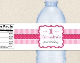 Pretty in Pink Party - 100% waterproof personalized water bottle labels