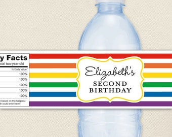 Rainbow Party - 100% waterproof personalized water bottle labels