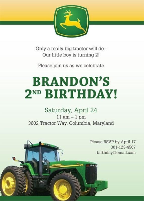 Jd Handmade Creations: John Deere Tractor Custom Birthday Party Invitation SET OF