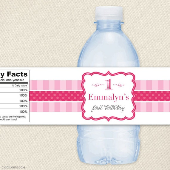 Pretty in Pink Party - 100% waterproof personalized water bottle labels