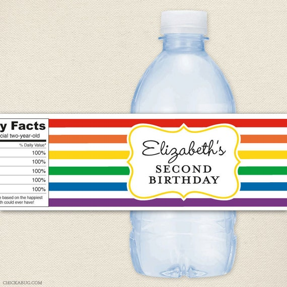 Water Bottle Name Tags: Rainbow Party 100% Waterproof Personalized Water Bottle