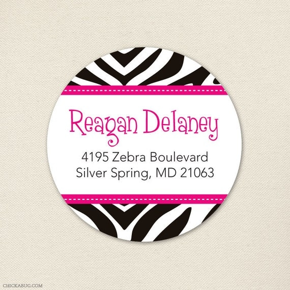 Zebra Print Address Labels - Your Choice of Accent Color - Sheet of 24