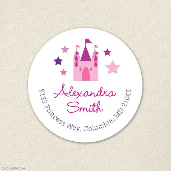 Princess Castle Address Labels - Sheet of 24