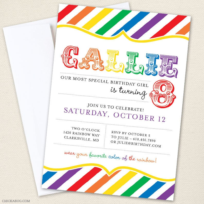 rainbow party invitations professionally printed or diy, Party invitations
