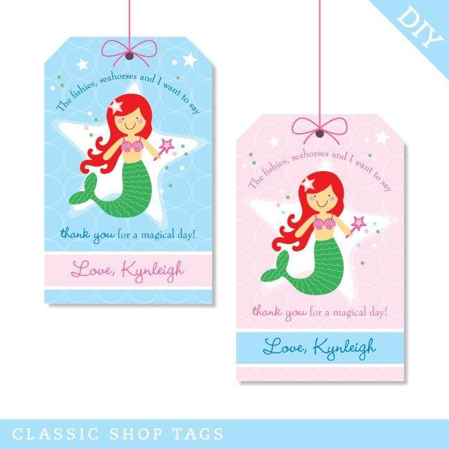 Mermaid Party Personalized DIY Printable Favor Tags Choose