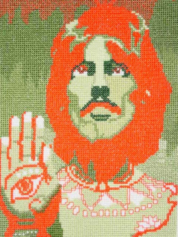PDF Format Psychedelic Beatles George Harrison Image Counted Cross Stitch Chart Immediate Download