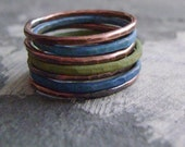Painted Patina Copper Stack Rings -Carribbean Cool Mix