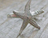 Sterling Silver Beachy Starfish Stacking Ring - For the Beach Girl