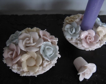 Vintage Pair of ARDALT Porcelain Floral Candle Holders