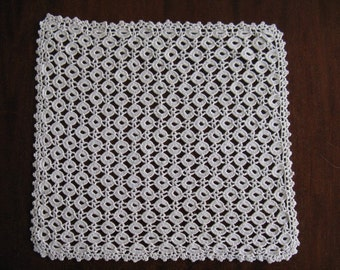 Vintage Crocheted Lace Doily 11 in x 12 in