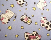 1 Yard of Adorable Cow-Country Flannel Cotton Fabric