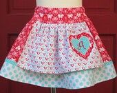 Adorable Michael Miller Butterflies and Hearts Boutique Apron Twirl Skirt with Personalized Applique