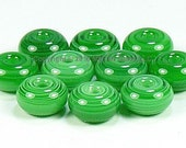 Green Marble Lamp Work Spacer Beads Glass Handmade - The Spacer Bead Shop