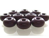 SALE 45% off - 7mm SILVER PLUM Purple Lampwork Glass Beads Spacer Handmade - The Spacer Bead Shop