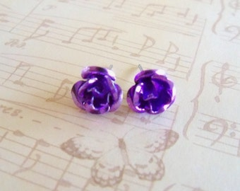 Purple Rose Post Earrings studs garden spring lilac lavender post