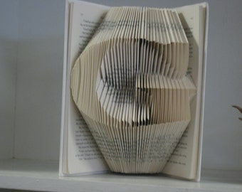 Custom Folded Book Art Sculpture - one large initial of your choice
