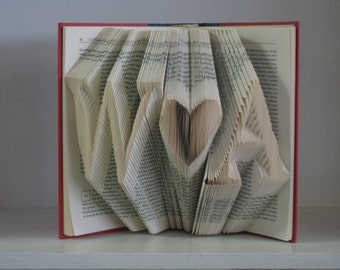Folded Book Art Sculpture - She hearts Him - Wedding, Bridal Shower, First Paper Anniversary, Engagement Gift,  Decor