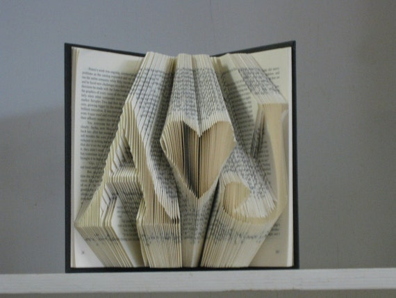 Custom Folded Book Art Sculpture - She hearts Him