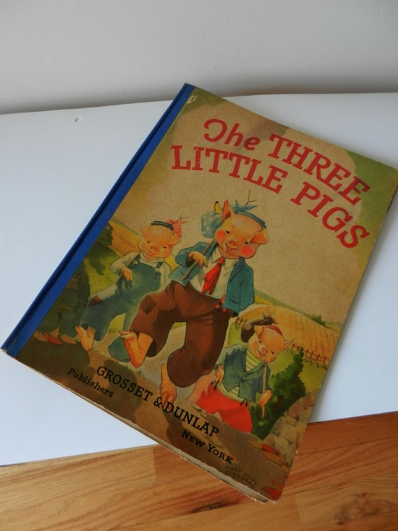 Vintage Childrens Book / The Three Little Pigs / Oversized Version Perfect for Framing
