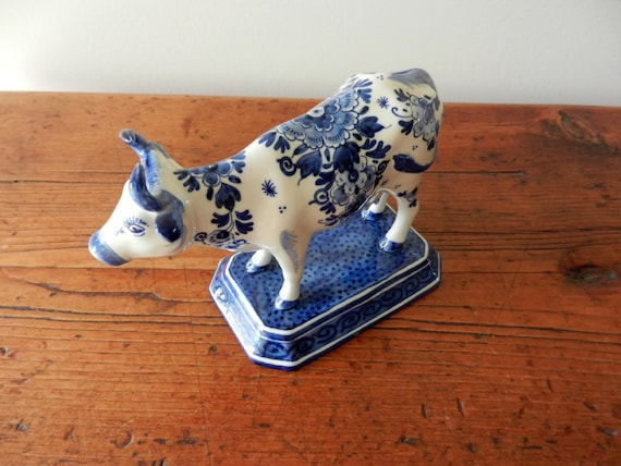 Vintage Delft Cow Figurine on Base/Plinth  Made in Holland