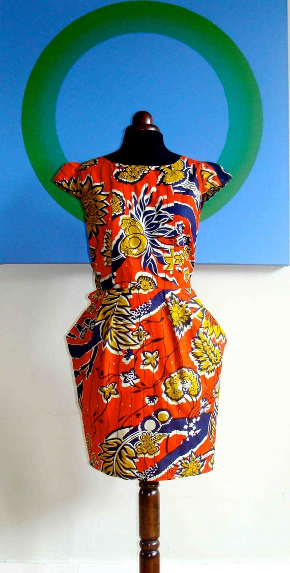 D & D Orange African Print Tulip Pocket Dress UK 16/US 14