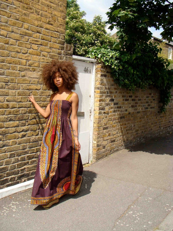 African Dashiki-Print Maxi Dress S/M Brown