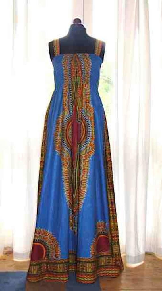 Light Blue African Print  Dashiki Diva Maxi Dress M