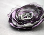 PURPLE and GRAY fabric flower hair accessorry, clip, brooch, bridal, wedding, photo prop