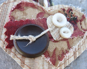 handmade heart shaped grass cloth bookmark with Neiman Marcus tag, buttons