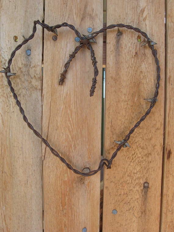 Handmade Rustic Wall Decor : Handmade rustic wall decor barbed wire heart by
