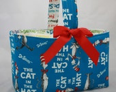 Reversible Turquois Cat in the Hat Fabric Easter Basket