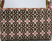 Fabric organizer storage bin Indian Summer Hearts Brown/Cream Fabric Bin 10 x 5.5 x 6
