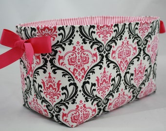 Storage Bin, fabric bin - Hot Pink and Black Damask with clear grommets for handles. Pink ribbon added on each side