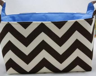 Fabric  Organizer Bin ZigZag Village Brown/Natural 10 x 5.5 x 6