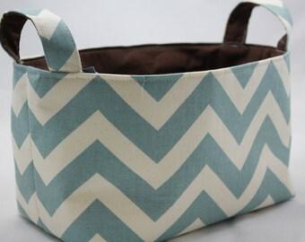 Fabric Organizer, Storage Container, Basket Bin, ZigZag Village Blue/Natural Featured in February 2012 Pregnancy Newborn Magazine