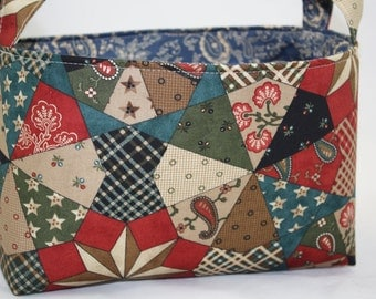 Fabric organizer storage Bin - Quilted Patchwork with blue paisley lining 10 x 5.5 x 6