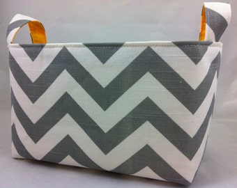 Fabric Bin, storage bin, ZigZag Ash Gray/White with corn yellow lining or choose your color lining 10 x 5.5 x 6