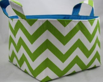 Fabric Bin, Diaper caddy, Fabric Organizer, ZigZag Chartreuse/White choice of color lining 10 X 10 X 6