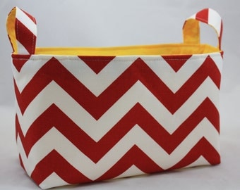 Fabric Bin, storage bin, ZigZag Red/White choose your color lining Reversible 10 x 5.5 x 6