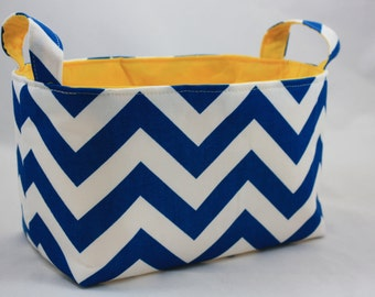 Fabric Organizer Storage Container Basket Bin -  ZigZag Blue Moon/White choose your color lining 10 x 5.5 x 6