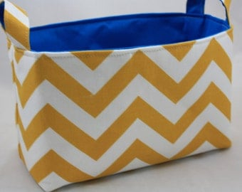 Storage Bin, Toy storage, ZigZag Yellow White choose your color lining 10 x 5.5 x 6