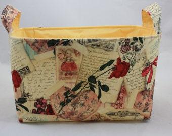 Vintage Valentine Fabric Bin 10 x 5.5 x 6