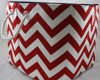 storage bin, toy storage, 11 x 11 x 11 -  ZigZag Choose your color combinations Rope handles
