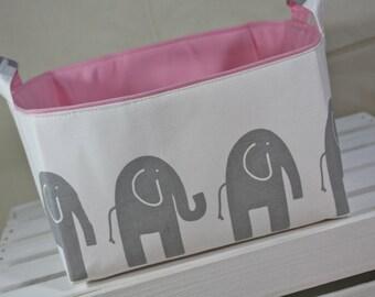 Fabric Organizer Storage Bin Container Basket - Ele Elephant - white and gray 12 x 10 x 7