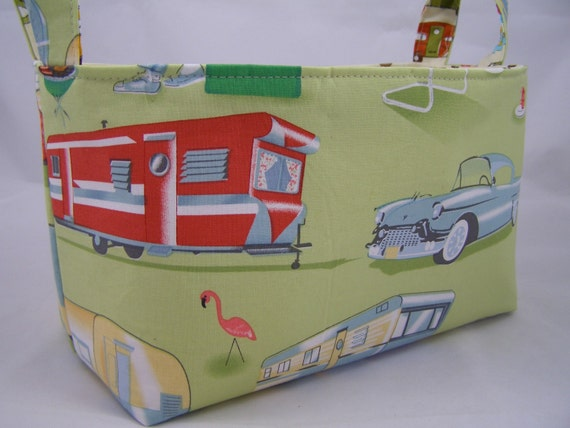 on hold for deb Fabric Bin - Retro Trailer Travel Camp with polka dot fabric lining 10 x 5.5 x 6