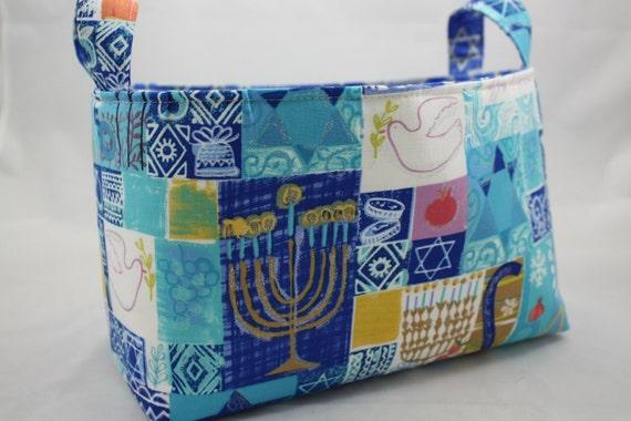 Fabric organizer storage bin Hannakkuh blue