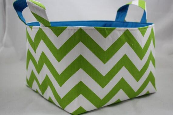 Storage bin, baby caddy, baby organizer, toy storage, ZigZag Chartreuse/White choice of color lining 10 X 10 X 7
