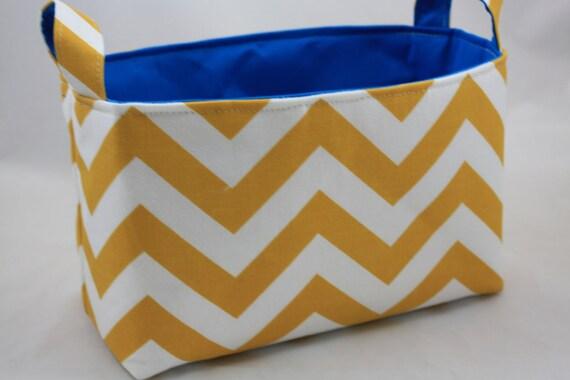 Storage Bin, Toy storage, ZigZag Yellow White choose your color lining 10 x 5.5 x 6
